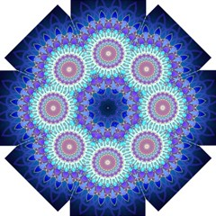 Power Flower Mandala   Blue Cyan Violet Straight Umbrellas by EDDArt