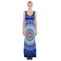 Power Flower Mandala   Blue Cyan Violet Maxi Thigh Split Dress by EDDArt
