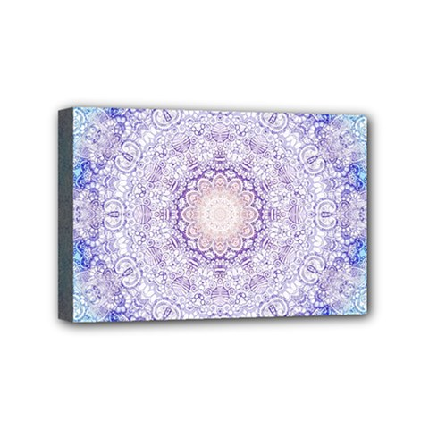 India Mehndi Style Mandala   Cyan Lilac Mini Canvas 6  X 4  by EDDArt