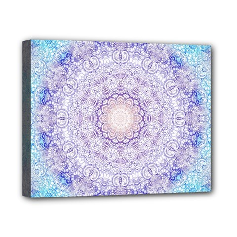 India Mehndi Style Mandala   Cyan Lilac Canvas 10  X 8  by EDDArt