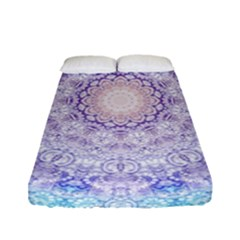 India Mehndi Style Mandala   Cyan Lilac Fitted Sheet (full/ Double Size) by EDDArt