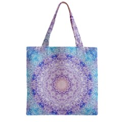 India Mehndi Style Mandala   Cyan Lilac Zipper Grocery Tote Bag by EDDArt