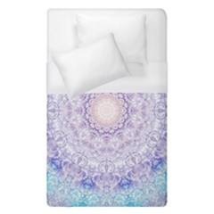 India Mehndi Style Mandala   Cyan Lilac Duvet Cover (single Size) by EDDArt
