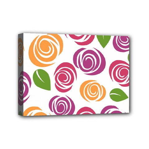 Colorful Seamless Floral Flowers Pattern Wallpaper Background Mini Canvas 7  X 5  by Amaryn4rt