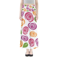 Colorful Seamless Floral Flowers Pattern Wallpaper Background Maxi Skirts by Amaryn4rt