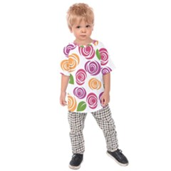 Colorful Seamless Floral Flowers Pattern Wallpaper Background Kids  Raglan Tee by Amaryn4rt