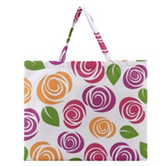 Colorful Seamless Floral Flowers Pattern Wallpaper Background Zipper Large Tote Bag by Amaryn4rt