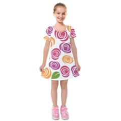 Colorful Seamless Floral Flowers Pattern Wallpaper Background Kids  Short Sleeve Velvet Dress by Amaryn4rt