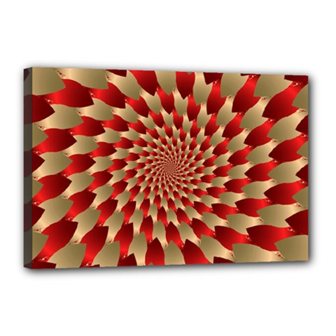 Fractal Red Petal Spiral Canvas 18  X 12  by Amaryn4rt