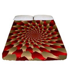 Fractal Red Petal Spiral Fitted Sheet (california King Size)