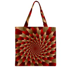 Fractal Red Petal Spiral Zipper Grocery Tote Bag by Amaryn4rt