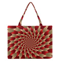 Fractal Red Petal Spiral Medium Zipper Tote Bag by Amaryn4rt