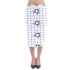 Fractal Design Pattern Velvet Midi Pencil Skirt
