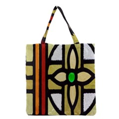 A Detail Of A Stained Glass Window Grocery Tote Bag by Amaryn4rt