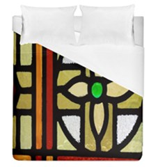 A Detail Of A Stained Glass Window Duvet Cover (queen Size) by Amaryn4rt