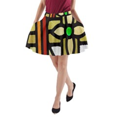 A Detail Of A Stained Glass Window A Line Pocket Skirt by Amaryn4rt