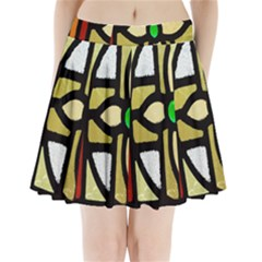 A Detail Of A Stained Glass Window Pleated Mini Skirt by Amaryn4rt