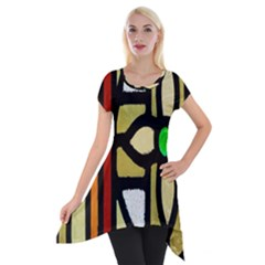 A Detail Of A Stained Glass Window Short Sleeve Side Drop Tunic by Amaryn4rt