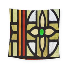 A Detail Of A Stained Glass Window Square Tapestry (small) by Amaryn4rt