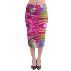 Abstract Pink Colorful Water Background Velvet Midi Pencil Skirt by Amaryn4rt