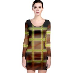 Drawing Of A Color Fractal Window Long Sleeve Bodycon Dress by Amaryn4rt