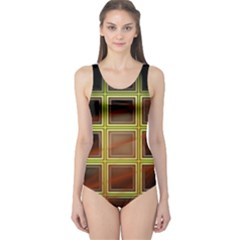 Drawing Of A Color Fractal Window One Piece Swimsuit by Amaryn4rt