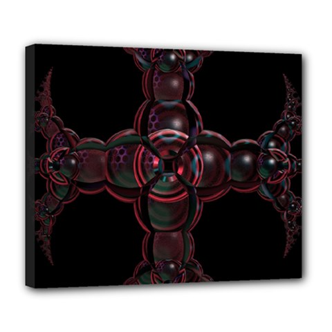 Fractal Red Cross On Black Background Deluxe Canvas 24  X 20