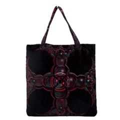 Fractal Red Cross On Black Background Grocery Tote Bag by Amaryn4rt
