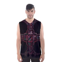 Fractal Red Cross On Black Background Men s Basketball Tank Top