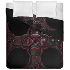 Fractal Red Cross On Black Background Duvet Cover Double Side (california King Size) by Amaryn4rt