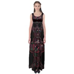Fractal Red Cross On Black Background Empire Waist Maxi Dress