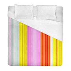 Multi Colored Bright Stripes Striped Background Wallpaper Duvet Cover (full/ Double Size) by Amaryn4rt
