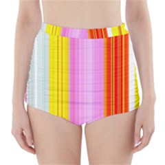 Multi Colored Bright Stripes Striped Background Wallpaper High-waisted Bikini Bottoms by Amaryn4rt