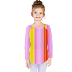 Multi Colored Bright Stripes Striped Background Wallpaper Kids  Long Sleeve Tee