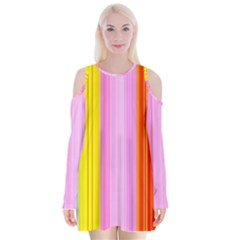 Multi Colored Bright Stripes Striped Background Wallpaper Velvet Long Sleeve Shoulder Cutout Dress by Amaryn4rt