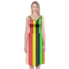 Colorful Striped Background Wallpaper Pattern Midi Sleeveless Dress by Amaryn4rt