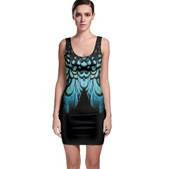Blue And Green Feather Collier Sleeveless Bodycon Dress
