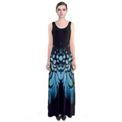 Blue And Green Feather Collier Sleeveless Maxi Dress