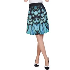 Blue And Green Feather Collier A-line Skirt