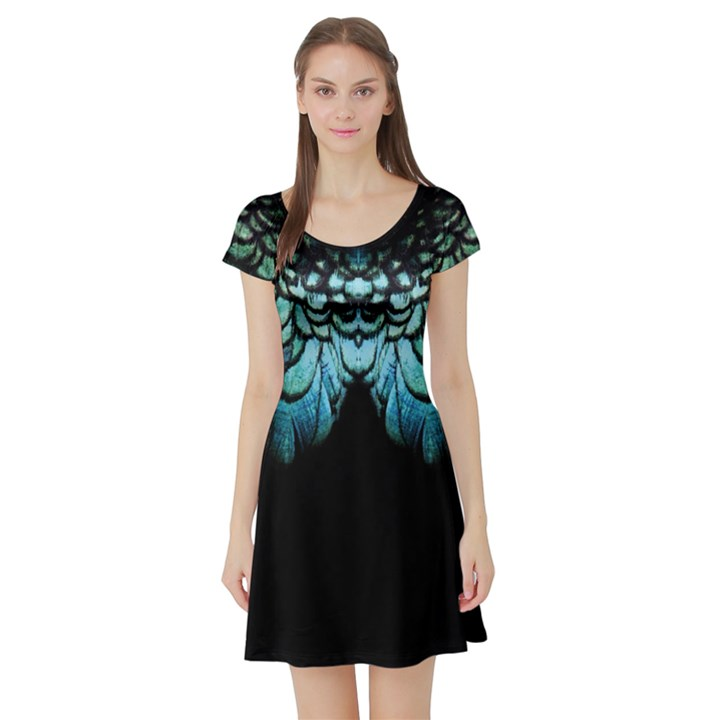 blue and green feather collier Short Sleeve Skater Dress