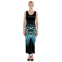 Blue And Green Feather Collier Fitted Maxi Dress