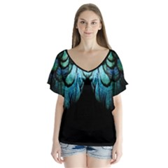 Blue And Green Feather Collier Flutter Sleeve Top by LetsDanceHaveFun