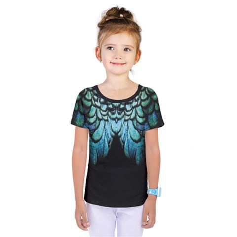 Blue And Green Feather Collier Kids  One Piece Tee by LetsDanceHaveFun