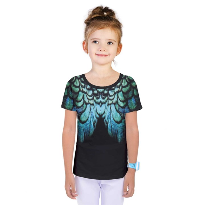 blue and green feather collier Kids  One Piece Tee