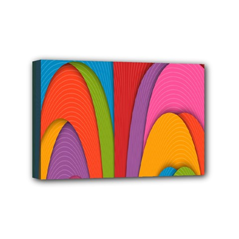 Modern Abstract Colorful Stripes Wallpaper Background Mini Canvas 6  X 4  by Amaryn4rt