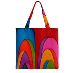 Modern Abstract Colorful Stripes Wallpaper Background Zipper Grocery Tote Bag by Amaryn4rt