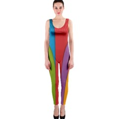 Modern Abstract Colorful Stripes Wallpaper Background Onepiece Catsuit by Amaryn4rt