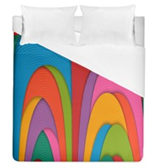 Modern Abstract Colorful Stripes Wallpaper Background Duvet Cover (queen Size) by Amaryn4rt