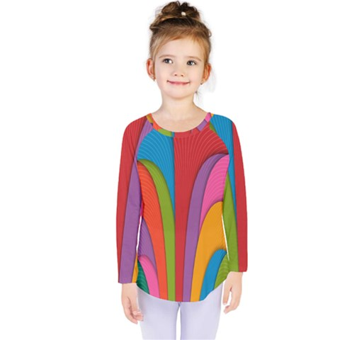 Modern Abstract Colorful Stripes Wallpaper Background Kids  Long Sleeve Tee by Amaryn4rt