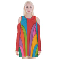 Modern Abstract Colorful Stripes Wallpaper Background Velvet Long Sleeve Shoulder Cutout Dress